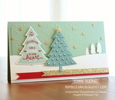 A Christmas card made with the Peaceful Pines stamp set and Perfect Pines Framelits dies from Stampin' Up! - Made by Chan Vuong