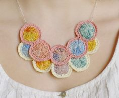 Crochet necklace silk rings hand dyed with by InvisibleJoin