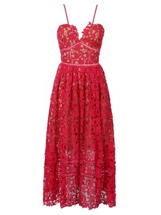 Red Spaghetti Strap Crochet Lace Midi Dress
