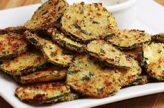 Garlic Parmesan Zucchini Chips Recipe by Tasty Parmesan Zucchini Chips, Zucchini Chips Recipe, Garlic Parmesan, Baked Garlic, Vegetable Dishes, Vegetable Recipes, Vegetarian Recipes, Cooking Recipes, Healthy Recipes