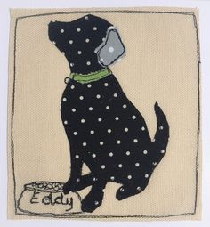 Custom order - Eddy the black labrador Freehand Machine Embroidery, Free Motion Embroidery, Machine Embroidery Applique, Applique Patterns, Applique Designs, Embroidery Stitches, Quilt Patterns, Applique Ideas, Diy Sewing Projects