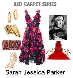 Red Carpet Series:  Sarah Jessica Parker by yellowbells on Polyvore featuring Notte by Marchesa, Christian Louboutin, Judith Leiber, Versace, John Hardy and Sarah Jessica Parker
