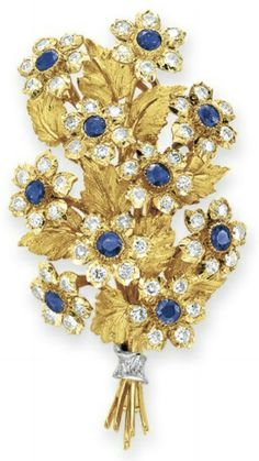 A SAPPHIRE AND DIAMOND BROOCH, BY BUCCELLATI