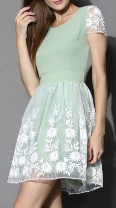 Mint Floral Organza Chiffon Dress