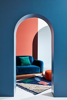 Coral and blue combine well in this image of a blue velvet sofa against a coral wall - definitely not a winter look. image credit: Arro Home and We Are Scout Boutique Interior, Home Design, Design Blogs, Colorful Decor, Colorful Interiors, Color Inspiration, Interior Inspiration, Le Logis, Blue Velvet Sofa