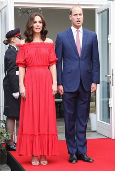 Hectic schedule: The royal couple landed at Berlin Tegel airport this morning to begin the...