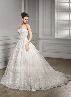 A-Line/Princess Sweetheart Court Train Zipper Up Covered Button Strapless Sleeveless Church General Plus No Spring Summer Fall Other Colors Tulle Lace Wedding Dress
