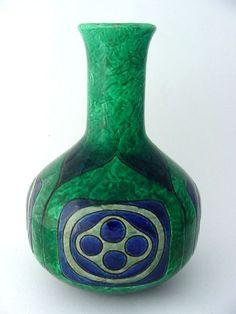 Karlsruher Majolika Jugendstil Vase um 1904 sehr selten Karlsruhe Keramik