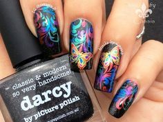 Oil Slick Butterfly Stamping Nail Art