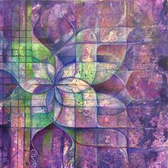 Mixed media watercolor and color pencil work in progress . Abstract lotus