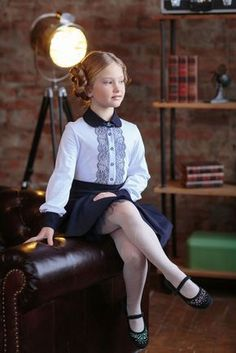 Children and Young School Uniform Girls, Girls Uniforms, Tween Fashion, School Fashion, Little Girl Dresses, Girls Dresses, Kids Outfits, Cute Outfits, Patterned Tights