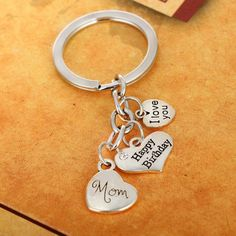 Pendant Keychain with Quote Love You Birthday