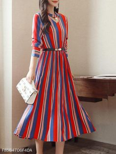 This midi skater dress with round nech and cutout vertical stripes is long sleeves one for autumn and spring. Vertical Striped Dress, Vertical Stripes, Sexy Dresses, Dress Outfits, Summer Dresses, Stylish Dresses, Midi Skater Dress, Prom Dress, Embroidery Fashion