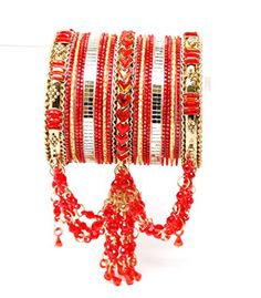 Bollywood style Indian designer metal bangle set. Size:2-08. Color:Gold - Red / AZBGBS101-2-08-GRD Arras Creations http://www.amazon.com/dp/B00LZHUP8Y/ref=cm_sw_r_pi_dp_AseYub1ZWX03H