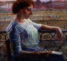 Umberto Boccioni - La sorella Amelia al balcone.