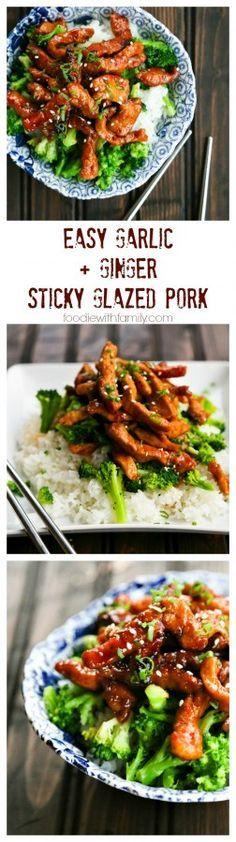 Easy Garlic and Ginger Sticky Glazed Pork Stir Fry