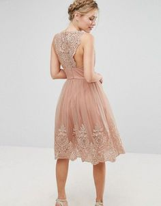 Chi Chi London Premium Lace Midi Dress with Scalloped cut-out Back - Color is ROSE-NUDE | us.asos dot com #mididress