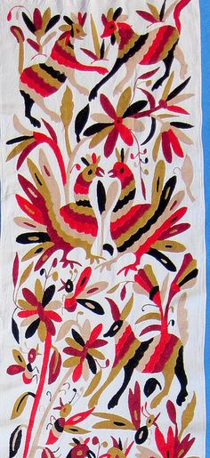 Otomi embroidery in a different color palette than you usually see - Mexico Love Birds and Rabbits :-)