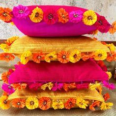Diy Cushion Covers, Cushion Cover Designs, Pillow Covers, Diya Decoration Ideas, Diy Diwali Decorations, Desi Wedding Decor, Wedding Crafts, Fun Diy Crafts, Diy Arts And Crafts