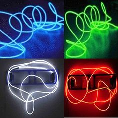 4 Pack - TDLTEK Neon Glowing Strobing Electroluminescent Wire /El Wire(Blue, Green, Red, White) 3 Modes Battery Controllers ^^ Truly awesome deals : Seasonal Lighting for Christmas Neon Lighting, Strip Lighting, Burning Man, Neon Azul, Christmas Rope Lights, Electroluminescent Wire, Guy Dorm Rooms, Light Fixtures Bedroom Ceiling, Car Bar