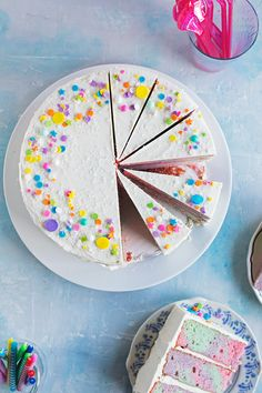 Rainbow Marble Layer Cake - A festive cake with rainbow marbled vanilla bean…