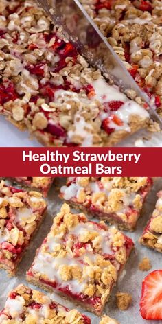 Strawberry oatmeal bars are a healthier fruit dessert, made with fresh strawberries, whole grain butter crumb topping, and a lightly sweetened vanilla glaze. This healthier oatmeal bars recipe is a favorite, because these delicious treats are easy to make and just 100 calories each! #strawberrybars #spring #strawberry #strawberries #desserts #healthy #healthydesserts via @wellplated