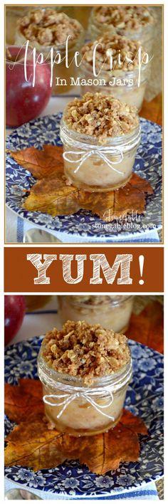 APPLE CRISP IN MASON JARS- Scrumptious sweet treats in single servings-everything taste better in a Mason jar!-stonegableblog.com