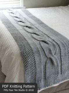 "River of Dreams bed runner blanket KNITTING PATTERN is fun to knit with super bulky weight yarn and big needles. Pattern includes directions for FOUR sizes: Approximate sizes after blocking... Twin Bed Runner: 23"" wide x 65"" long Full Bed Runner: 23"" wide x 81"" long Queen Bed"
