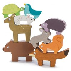 Le Toy Van Traditional Wooden Toys - Forest Stacker Tower- Wooden Forest Animals in a handy storage bag. Who can stack these adorable woodland animals highest? Wooden Baby Toys, Wood Toys, Toddler Toys, Kids Toys, Animal Bag, Learning Toys For Toddlers, Stacking Toys, Activity Toys, Wooden Animals