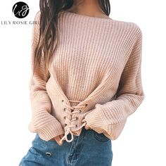 Sibybo Autumn Lace Up Sweater Women 2017 New Knitted Women Sweaters and  Pullovers Solid Jumper Adjust Waist Bandage Sweater be79d4d90