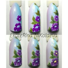 New nails yellow design purple Ideas Purple Nail Art, Floral Nail Art, Nail Art Diy, Nail Manicure, Diy Nails, Cute Nails, Pretty Nails, Flower Nail Designs, Nail Art Designs