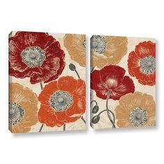 """Mercury Row A Poppys Touch Master 2 Piece Painting Print on Wrapped Canvas Set Size: 18"""" H x 28"""" W x 2"""" D"""