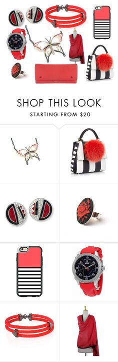 """""""Red, Black & Silver!"""" by monika-przymuszala ❤ liked on Polyvore featuring Les Petits Joueurs, Kenneth Jay Lane, Casetify, Jacob & Co., StingHD, NOVICA and CÉLINE"""
