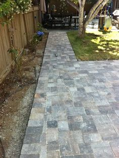 Old town pattern backyard paver patio with walking path. Reconfigured the sprinkler system.  Project Length: 10 Days  Cost: $14k Materials, Install  Materials: Pavers - Quarry Stone by Calstone, Sequoia Sandstone color
