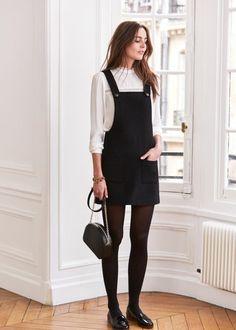 Cool idée comment s'habiller robe décontractée noire; robe salopette