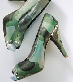 Fabric Covered Camouflage Shoes