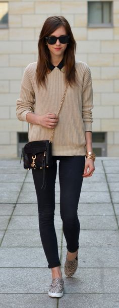 Fall / Winter - street chic style - black skinnies + nude oversized sweater + black shirt + black messenger bag + leopard print converse.