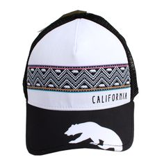 New CALIFORNIA BEAR TRIBAL SNAPBACK Hat Curved Bill Black Mesh