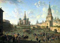 Федор Яковлевич Алексеев «Красная площадь в Москве», 1801 год, Государственная Третьяковская галерея, Москва.