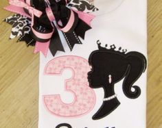 Barbie Silhouette Applique,  Elegant Birthday Barbie TShirt
