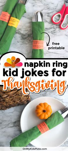 This Thanksgiving napkin rings printable is such a funny way to keep the kids busy around the holiday table. Make your own DIY Thanksgiving napkin rings as an easy way to add some fun to your holiday table. This free prinable is full of clean silly Thanks