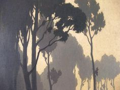 ALEXANDRE-LOUIS JACOB (1876-1972) Watercolor Landscape, Abstract Landscape, Landscape Paintings, Watercolor Art, Scenary Paintings, Woodcut Art, Tree Sketches, Art Oil, Japanese Art