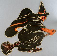 Estate 497 Vintage Halloween Large Printed Cardbord Die Cut Witch Merri Lei | eBay