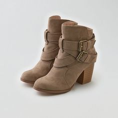 AEO Double Buckle Heeled Boot Cuties ($70) ❤ liked on Polyvore featuring shoes, boots, ankle booties, booties, brown, brown boots, short boots, brown heeled boots, brown booties and ankle boots