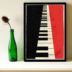 a blue colour option instead: Minimalistic vintage Piano keys illustation poster by Lautstarke, $25.00