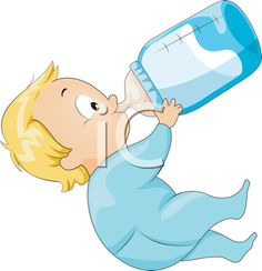 Royalty Free Clipart Image of a Child Drinking From a Bottle