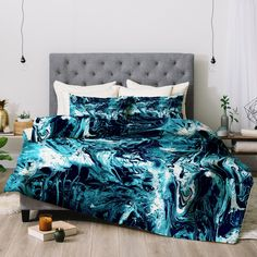 Cayenablanca Blue Marble Comforter by Deny Designs, Size: King Marble Bedroom, Blue Bedroom, Bedroom Decor, Bedroom Storage, Bedroom Ideas, Marble Comforter, Teal Comforter, Teal Bedding Sets, Wallpaper Wall