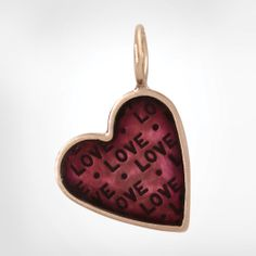 """Size 2 Rose Gold Heart with a Rose Gold Original Frame and Plum Enamel - Stamped with """"Love"""" Repeating"""
