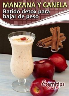 Batido de manzana y canela para bajar de peso y adelgazar rapido. Healthy Smoothies, Smoothie Recipes, Healthy Drinks, Healthy Eating, Detox Drinks, Healthy Snacks, Bebidas Detox, Healthy Tips, Healthy Recipes