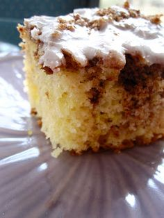 Easy cinnamon roll cake Yellow Cake Mix 4 eggs ¾ cup oil 1 cup sour cream Mix by hand and pour in 13 x 9 greased baking pan. 1 cup brown sugar 1 tbsp cinnamon Mix and pour over cake batter. Swirl into batter with knife.